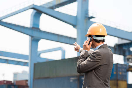 Back view of a port inspector pointing at the object while talking by cellphone