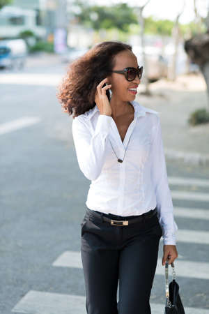 Vietnamese businesswoman talking on the phone