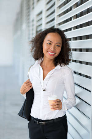 Portrait of an Asian business lady going to work