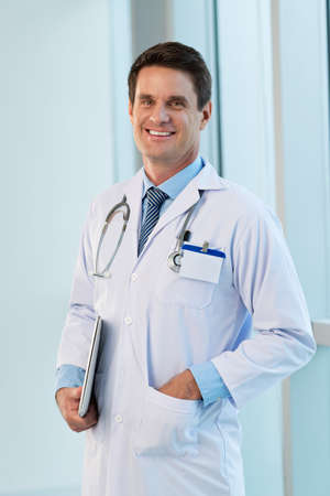 md: Portrait of smiling practitioner in the hospital Stock Photo