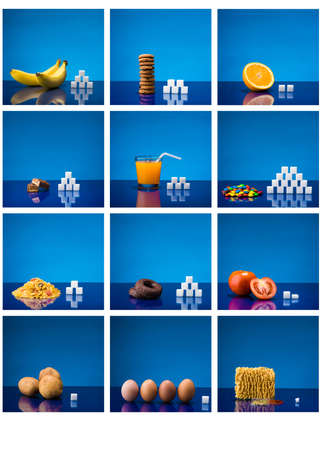 Table showing amount of sugar in different products Reklamní fotografie