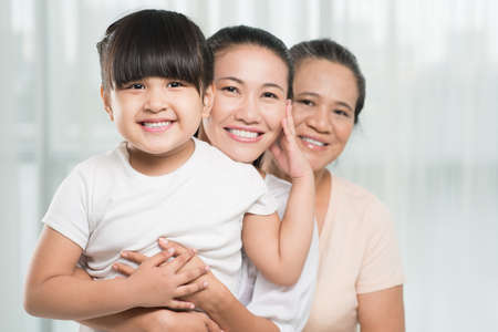 three generations of women: Asian family of three female bonding together