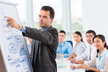 teamwork business: Businessman pointing at the whiteboard and explaining some idea to his coworkers
