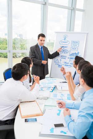 彼の同僚にいくつかのアイデアを説明しながらホワイト ボードを指してビジネスマン