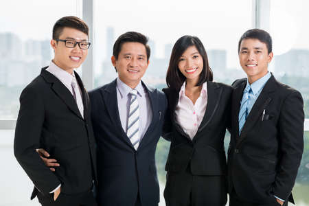 happy business team: Portrait of happy successful business team Stock Photo