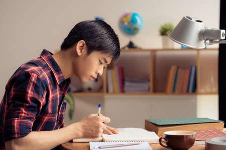 Vietnamesischer Jugendlicher, der Hausarbeit, Seitenansicht tut