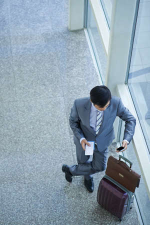 wireless telephone: Businessman standing at window in airport terminal and using phone Stock Photo