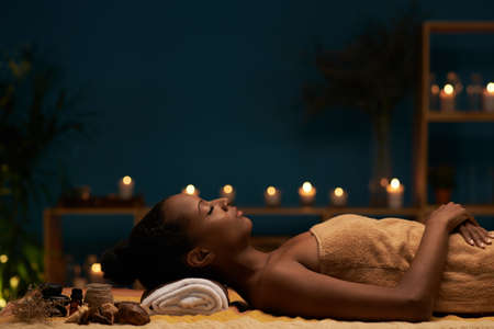 Side view of woman having aromatherapy treatment in spa salon Stock fotó