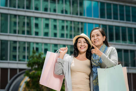 Portrait of Vietnamese middle-aged women with shopping bags