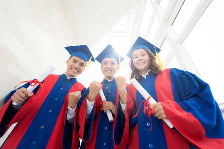 schoolmate: Vietnamese high school graduates happy to get their diplomas Stock Photo