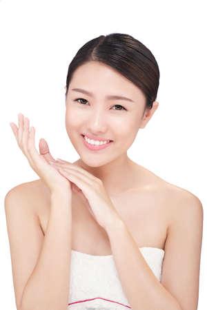 mujer alegre: Cheerful young Asian woman with soft, beautiful skin Foto de archivo
