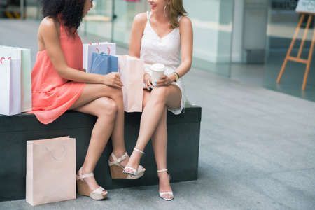 Female friends chatting after shopping at the mall
