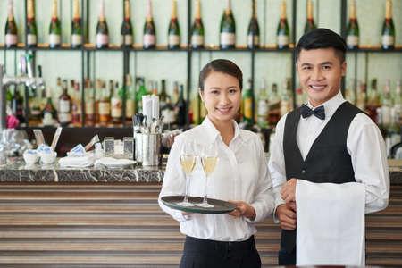 Restaurant waiters 스톡 콘텐츠