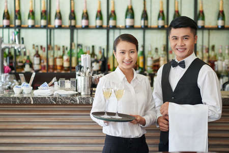 Restaurant waiters Stock Photo