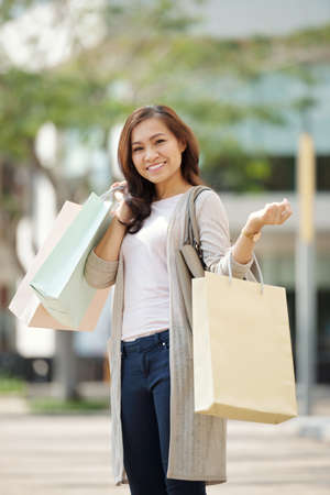Cheerful shopaholic Stock Photo