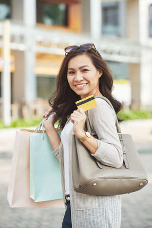 Shopping with card Stock Photo