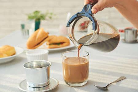 adding: Fresh coffee