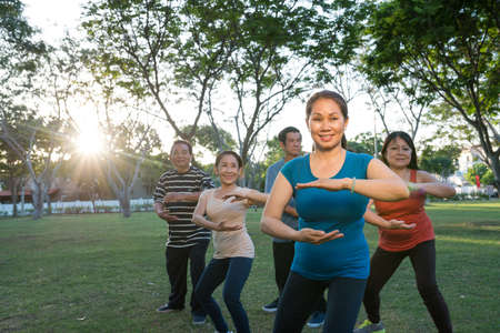 Mature people enjoying Tai Chi class in the park