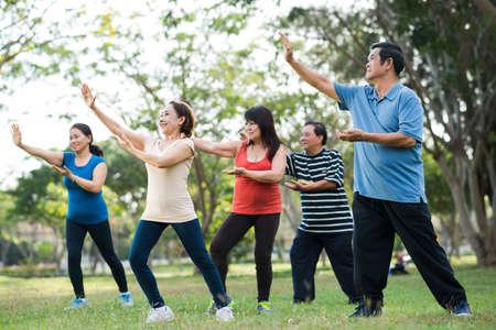 Oudere Aziatische mensen die Tai Chi samen beoefenen Stockfoto
