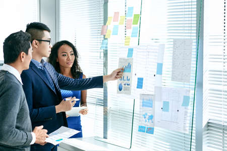 Asian business executives analyzing annual report Imagens