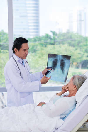 Doctor explaining radiography results to female patient