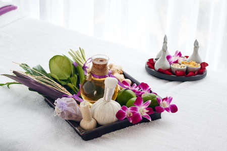 Everything for spa procedures on the table Stock Photo