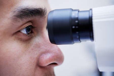 Close-up image of man having annual eyesight examination Stock Photo