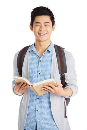 Smart Asian Student with Book