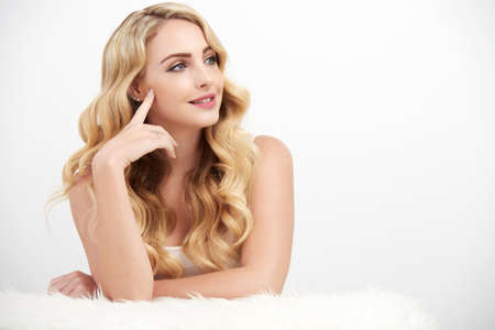 girl  care: Carefree Blonde Woman on White