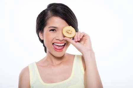 Happy fruit eater Stock Photo