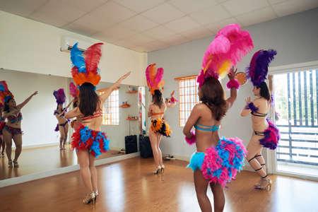 Samba Dancers Focused on Rehearsal