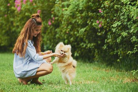 Het vrolijke Vietnamese jonge vrouw spelen met haar puppy in het park