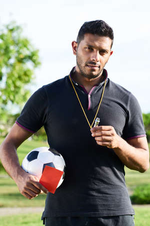 Mixed Race Soccer Referee Banque d'images