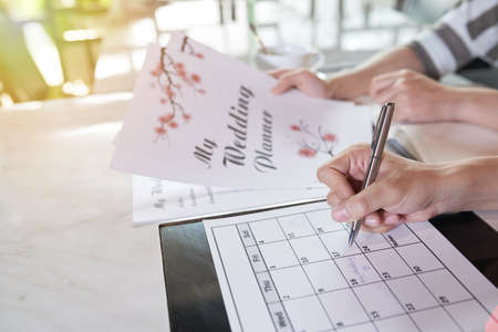 Planning Wedding Day Zdjęcie Seryjne