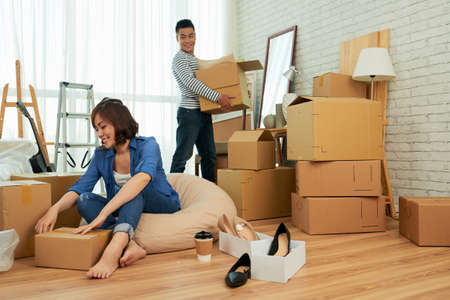 Unpacking couple Stock Photo
