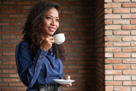 Enjoying morning coffee Stock Photo