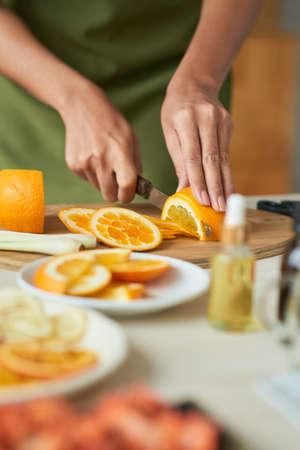 Slicing orange 写真素材
