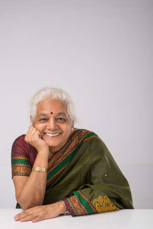 Cheerful elderly Indian woman