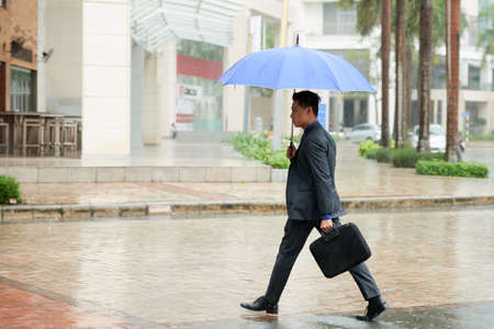 Profile view of confident businessman wearing classical suit holding umbrella in hand and crossing road while returning home after working day in office, cityscape with pouring rain on background