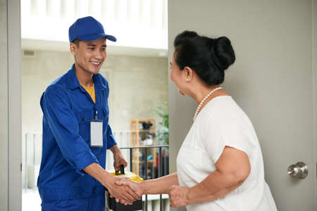 Greeting service man 版權商用圖片
