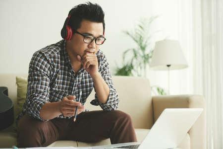 Creative man working on laptop