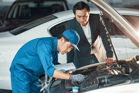 Checking car at service