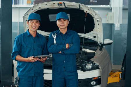 Team of mechanics