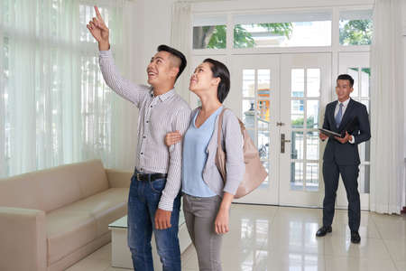 Couple exploring new house