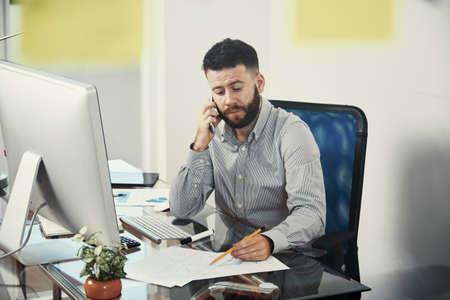 Businessman analyzing financial data