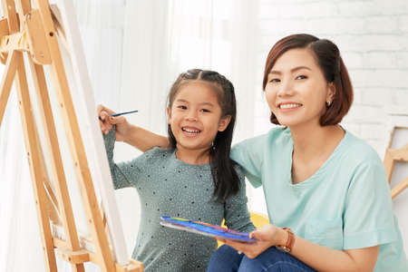 Creative mother and daughter