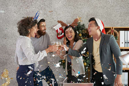 Toasting coworkers Stock Photo