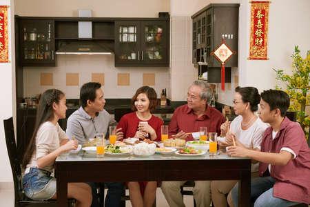 Big family celebrating Tet