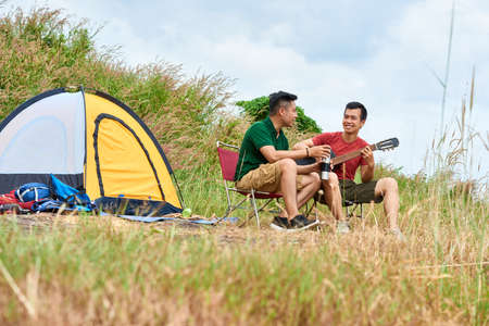 Camping friends Stock Photo - 118220870