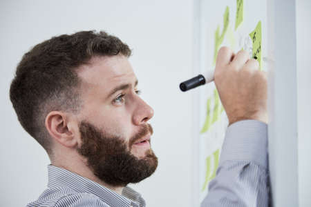 Young bearded businessman writing business ideas with marker pen on sticky notes at office